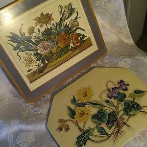 Vintage Pair of Floral Trivits